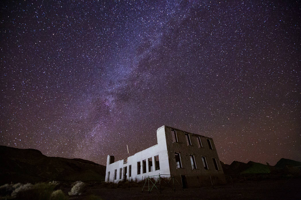A view of the night sky over the school building in Rhyolite on Friday, Nov. 22, 2019. (Chase S ...