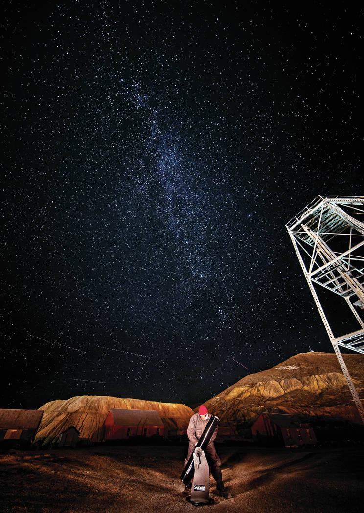 Astronomer Russ Gartz views the dark sky from a spot at the Tonopah Historic Mining Park on Wed ...