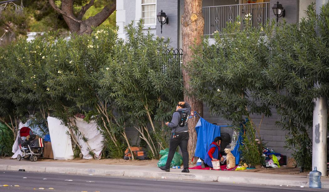 People make temporary homes amongst the trees off E. Twain Ave. near Molasky Family Park on Mon ...