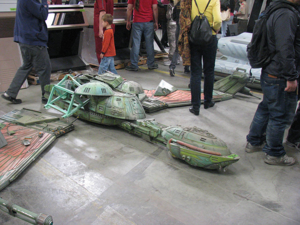 """A model of a Klingon Bird of Prey was one of the props from """"Star Trek: The Experience"""" sold in ..."""
