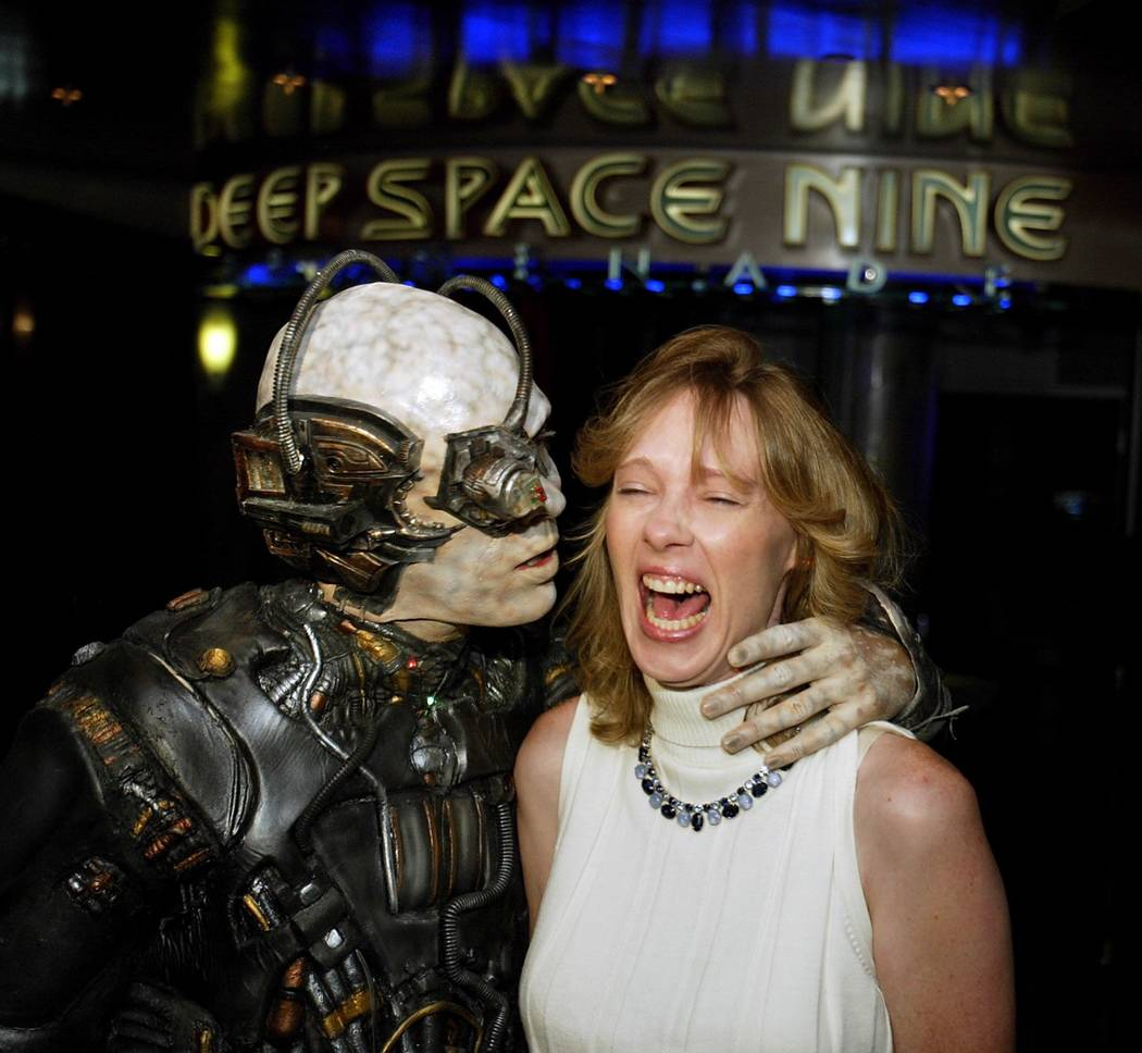 Jannice Livingston of Norwich , Connecticut is approached by a Borg during a press conference ...