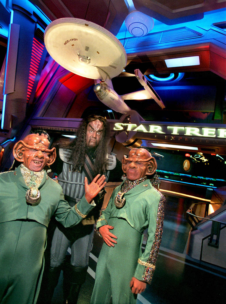 """Two Ferengi and a Klingon greet guests at """"Star Trek: The Experience."""" (Review-Journal file photo)"""