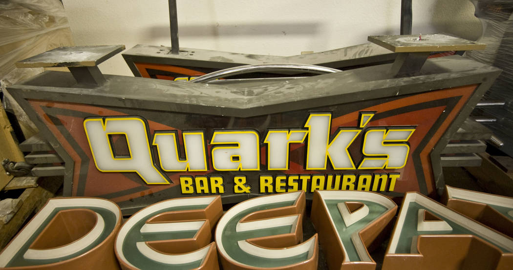 """The sign from Quark's Bar & Restaurant, a themed restaurant at """"Star Trek: The Experience"""" at t ..."""