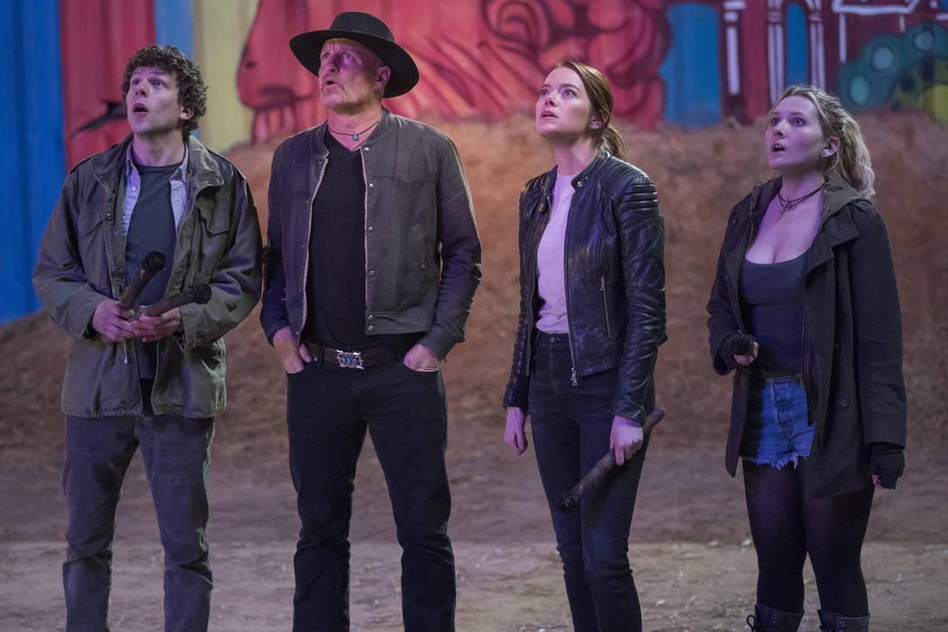 Columbus (Jesse Eisenberg), Tallahassee (Woody Harrelson), Wichita (Emma Stone) and Little Rock ...
