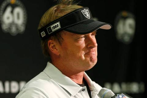 Oakland Raiders head coach Jon Gruden speaks at a news conference after an NFL football game ag ...