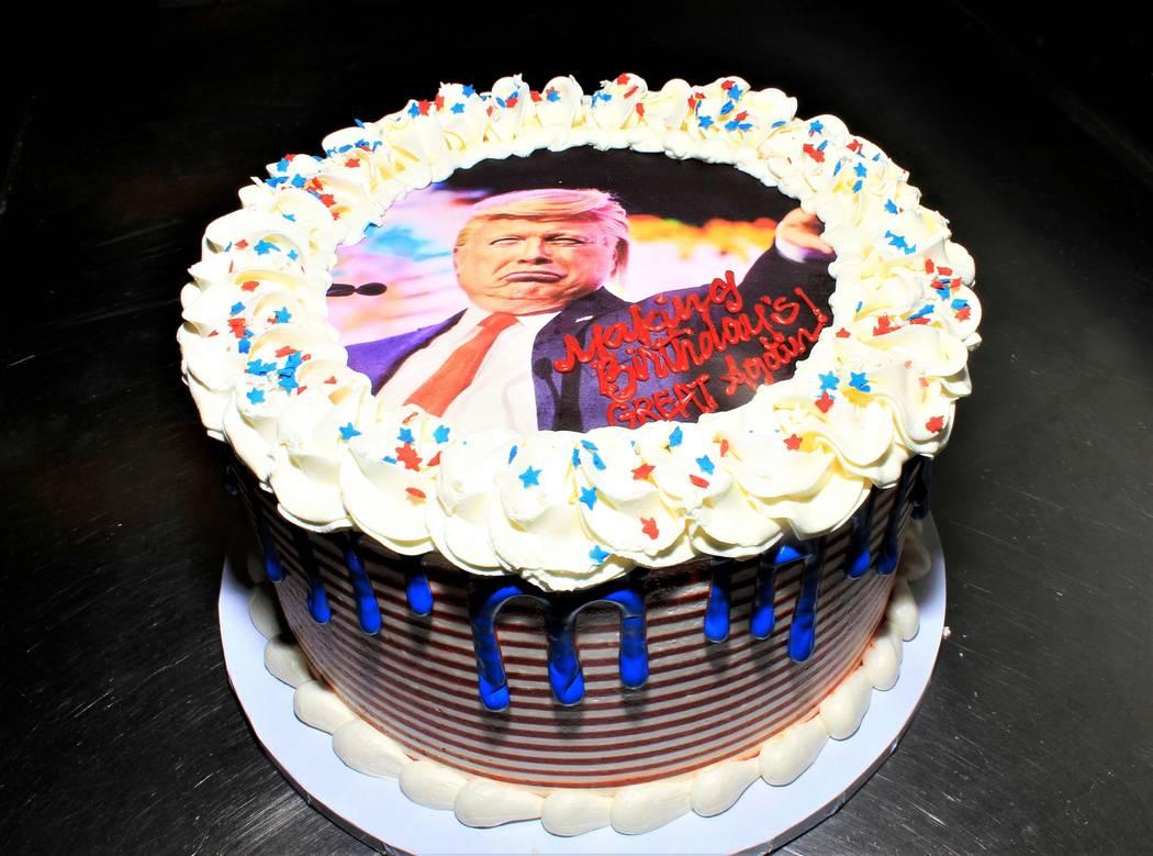 The birthday cake for Las Vegas comic impressionist John Di Domenico is shown at Di Domenico's ...