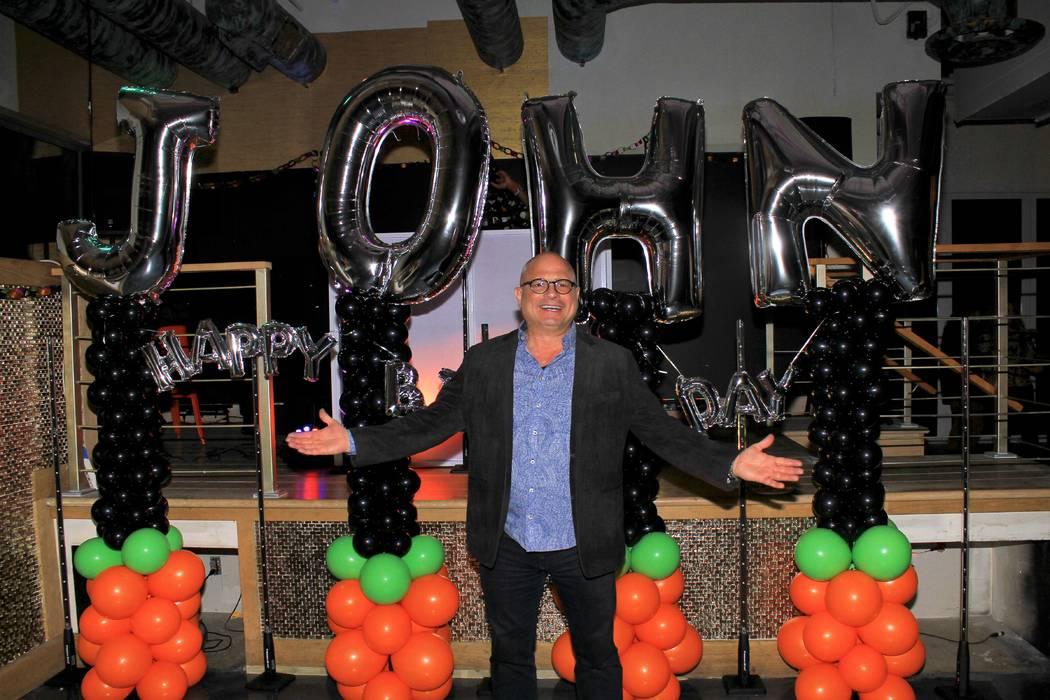 Las Vegas comic impressionist John Di Domenico is shown at his surprise 57th birthday party at ...