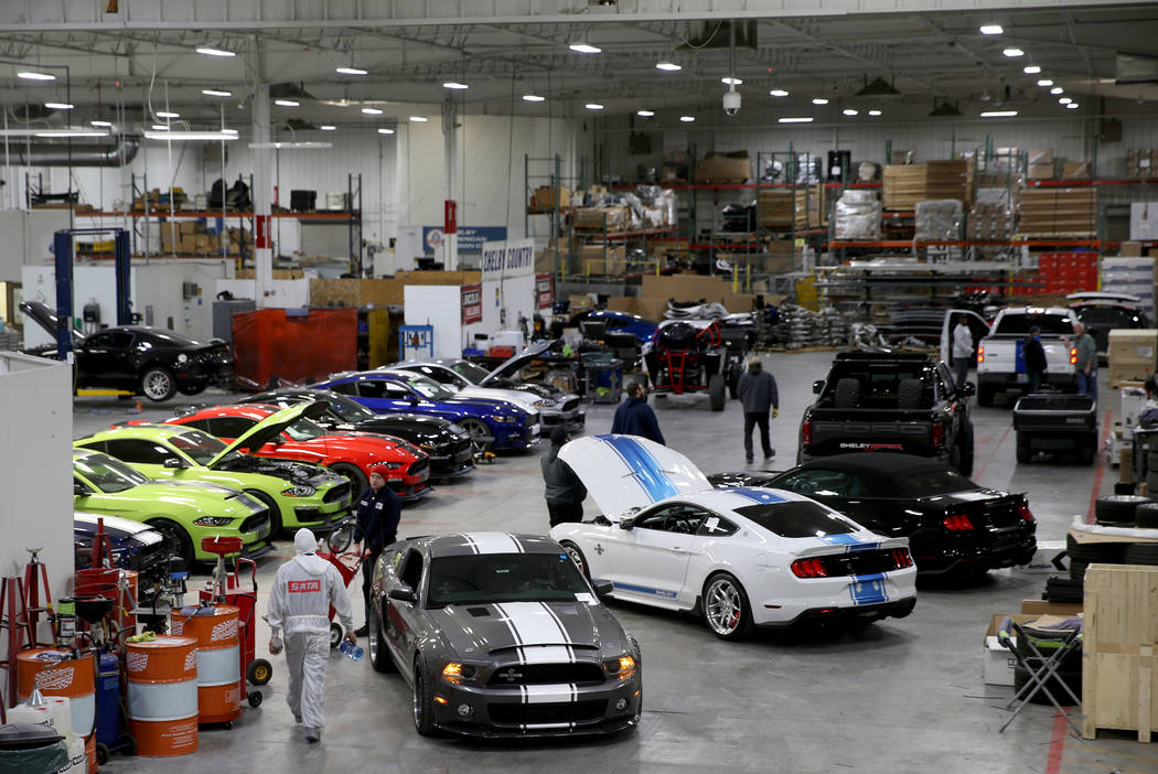 The Shelby factory, where cars are built and upgraded, in Las Vegas Thursday, Oct. 31, 2019. Sh ...