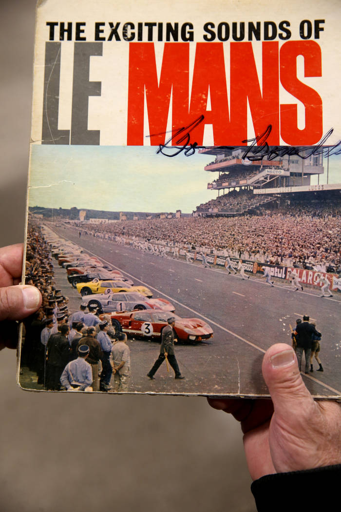 An album cover featuring a photo of the 1966 La Mans race that was dominated by Carroll Shelby' ...