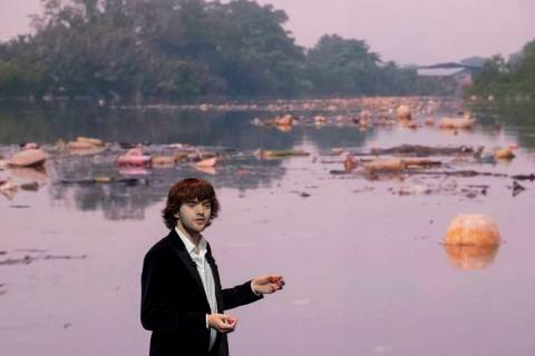 Young Dutch inventor Boyan Slat presents his plans for the Interceptor, a plastic-gathering flo ...