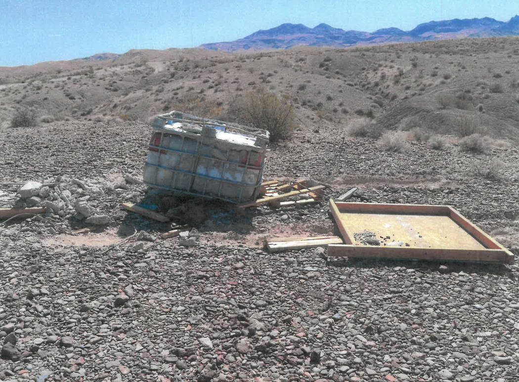A 250-gallon water tank, encased in concrete and wood, that authorities said had contained the ...