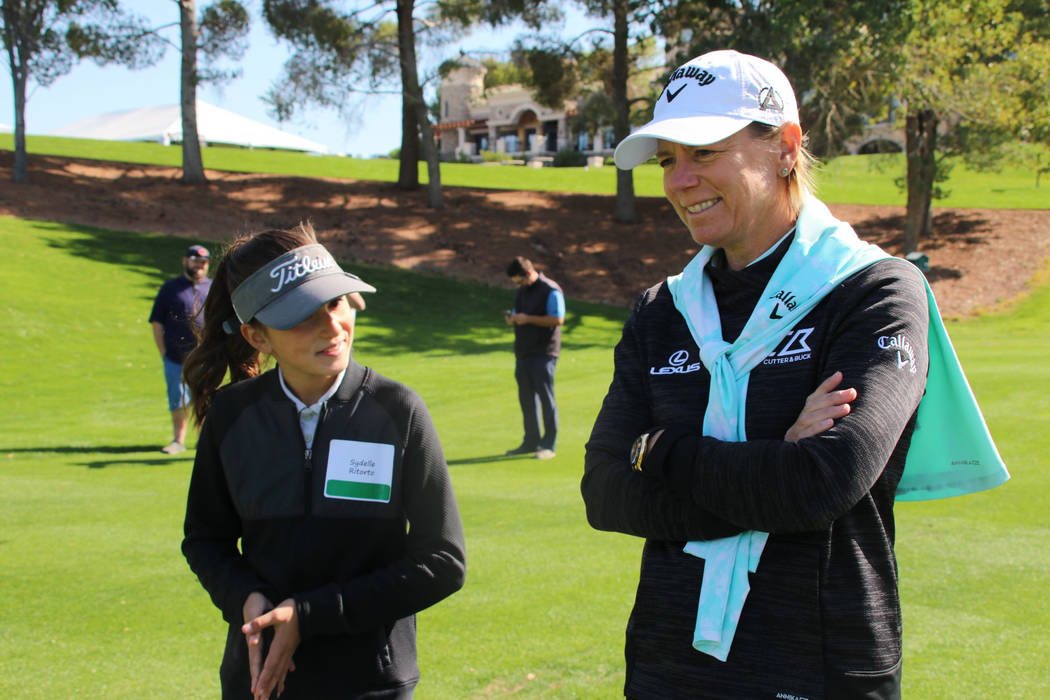 World Golf Hall of Fame member Annika Sorenstam shares a moment with Southern Nevada junior gol ...