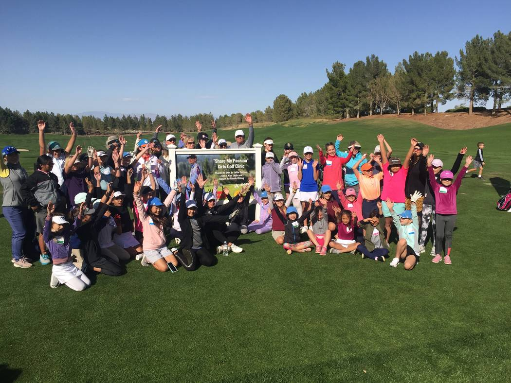 Annika Sorenstam (sitting, center front, white hat), a winner on the LPGA Tour 93 times and an ...