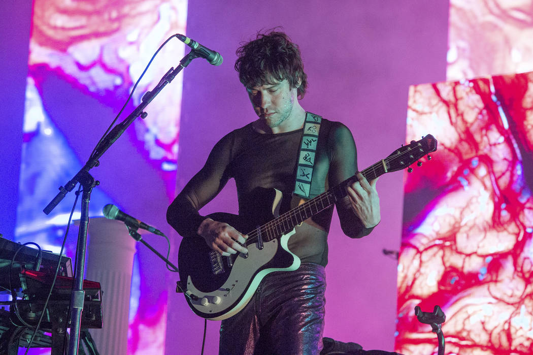Andrew VanWyngarden of MGMT performs at the 2018 BUKU Music + Art Project at Mardi Gras World o ...