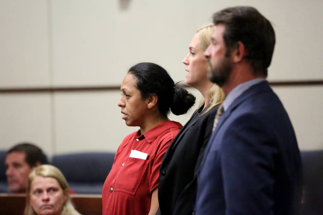 Rita Colon, the suspect in the 2016 slaying of former UNLV professor Leroy Pelton, appears in H ...