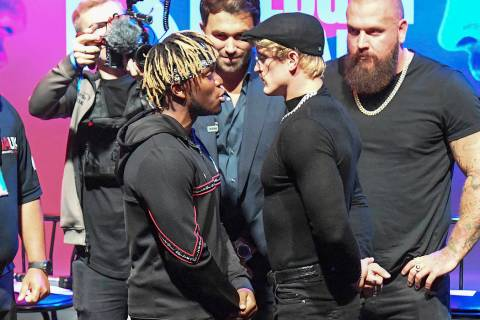 KSI v Logan Paul 2 Press Conference - Troxy. KSI (left) and Logan Paul during the press confere ...