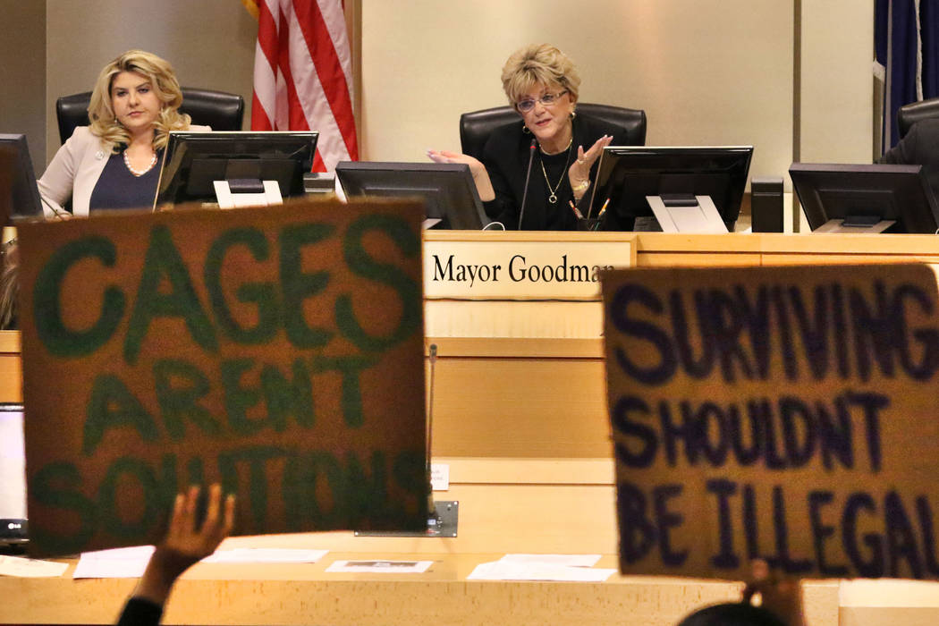 Councilwoman Michele Fiore, left, listens as Las Vegas Mayor Carolyn Goodman speaks during the ...