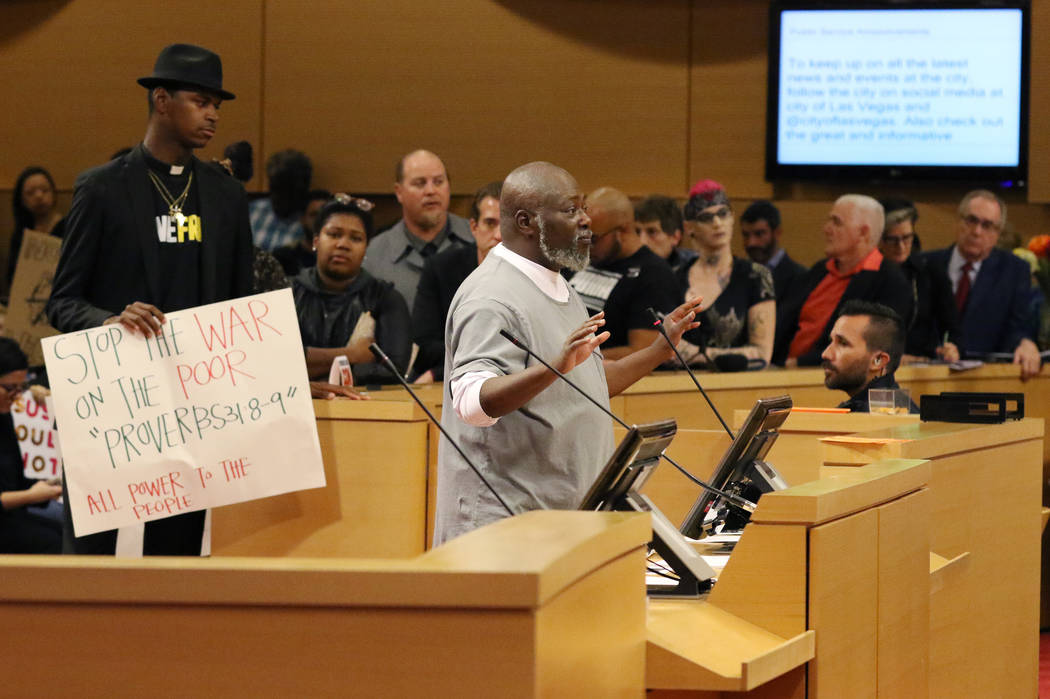 George Allen addresses the city council opposing a controversial ban on homeless camping during ...