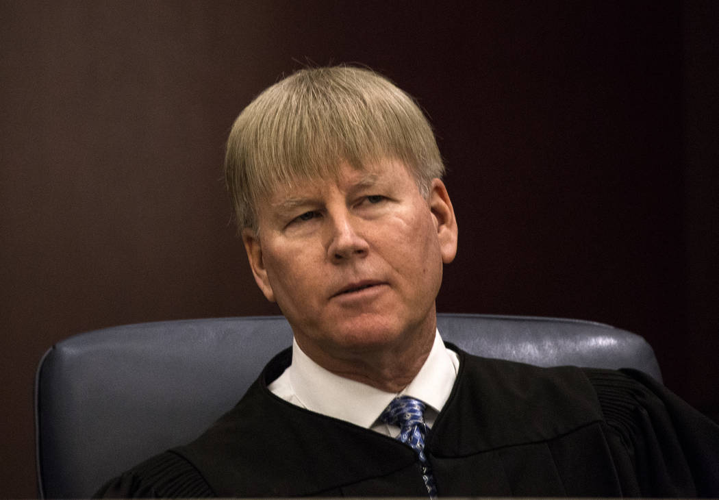 Nevada Court of Appeals Judge Michael Gibbons listens during the court's first hearing on March ...