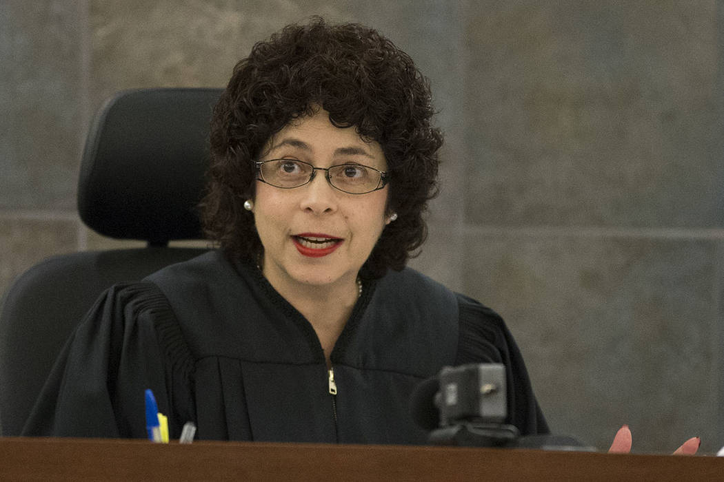 Then-District Judge Elissa Cadish speaks during a hearing at the Regional Justice Center on Jan ...