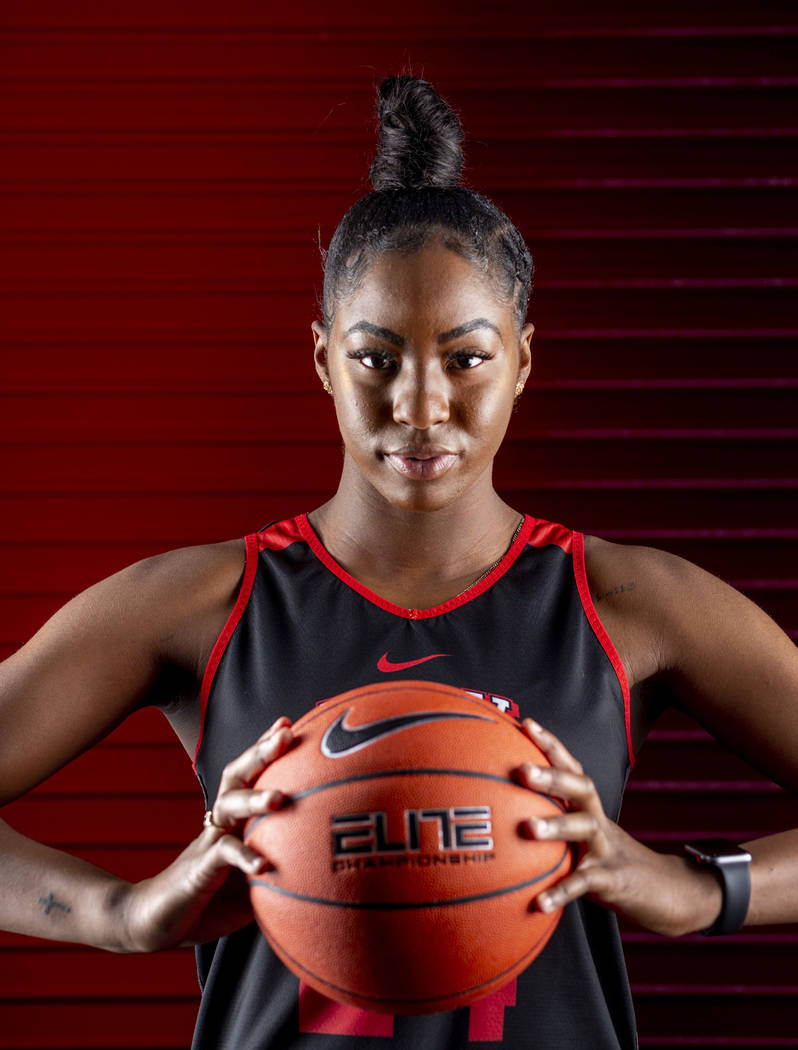 t31Center Rodjanae Wade (24) poses for a portrait during UNLV women's basketball media day at T ...