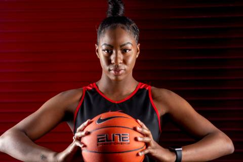 Center Rodjanae Wade (24) poses for a portrait during UNLV women's basketball media day at Thom ...