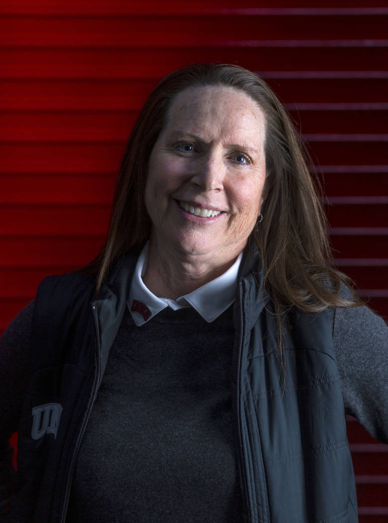 UNLV Lady Rebels head coach Kathy Olivier poses for a portrait during UNLV women's basketball m ...
