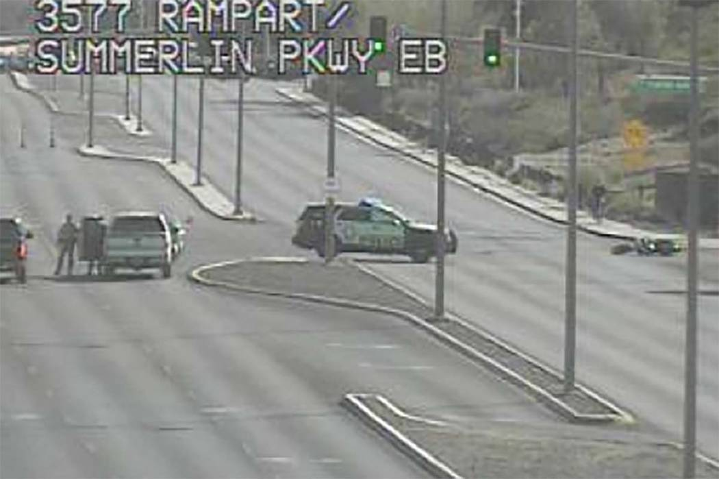 The intersection of Canyon Run Drive and Rampart Boulevard, near Alta Drive in western Las Vega ...