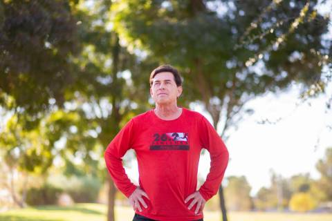 "Las Vegan marathon runner Randy Lazer, who had multiple heart surgeries and was ""dead&quot ..."