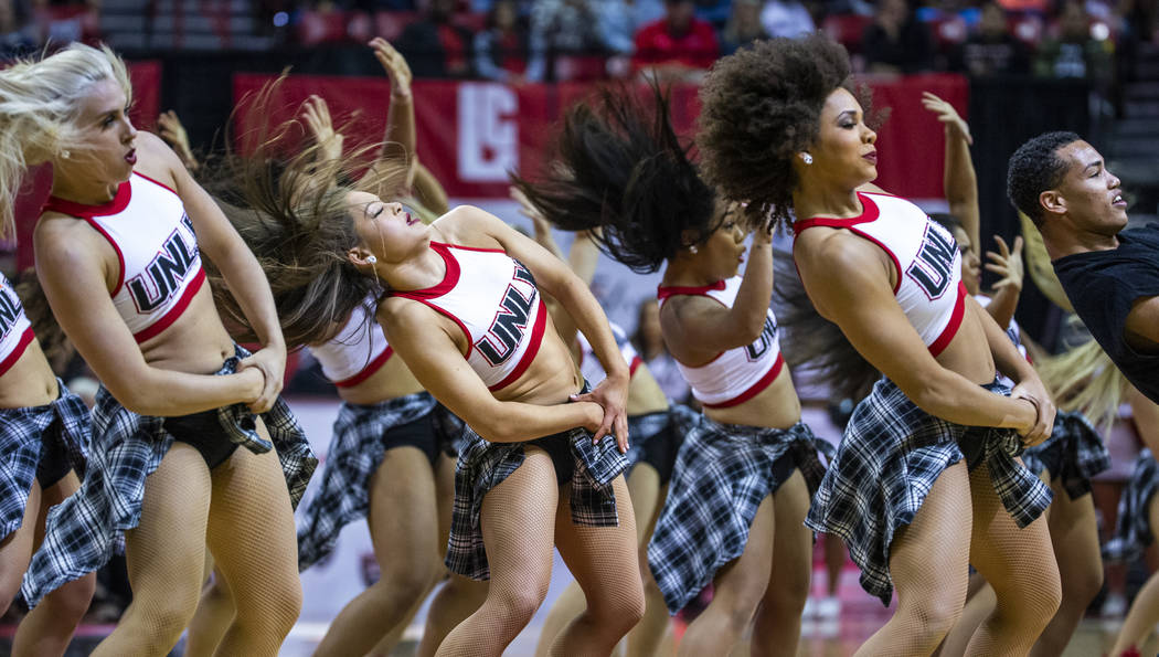 The Rebel Girls & Company perform as the UNLV Rebels battle Purdue Fort Wayne during the fi ...