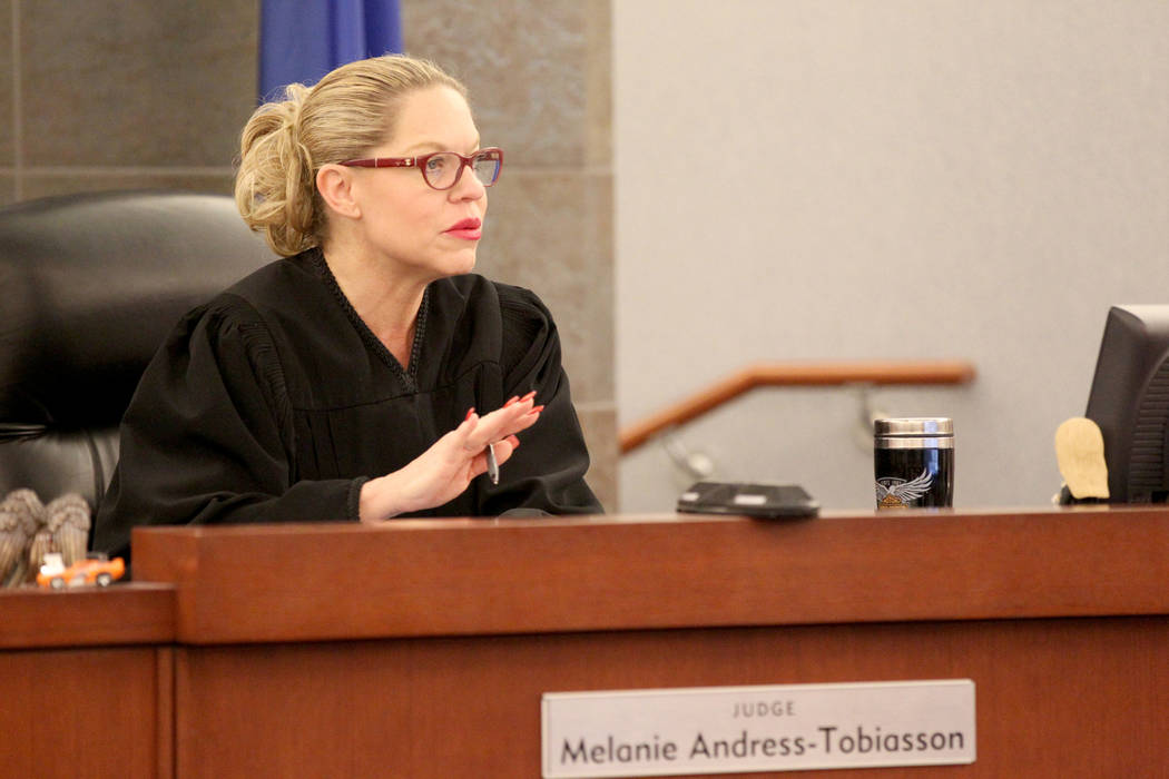 Las Vegas Justice of the Peace Melanie Andress-Tobiasson presides over domestic violence court ...
