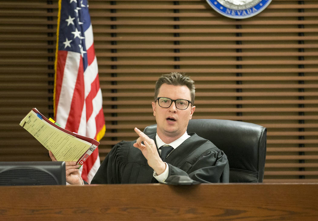 Henderson Justice of the Peace Sam Bateman presides over a case on July 2, 2018. (Richard Brian ...
