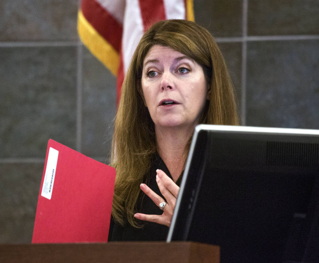 Las Vegas Justice of the Peace Cynthia Cruz speaks to attorneys in court on May 18, 2016. (Jeff ...