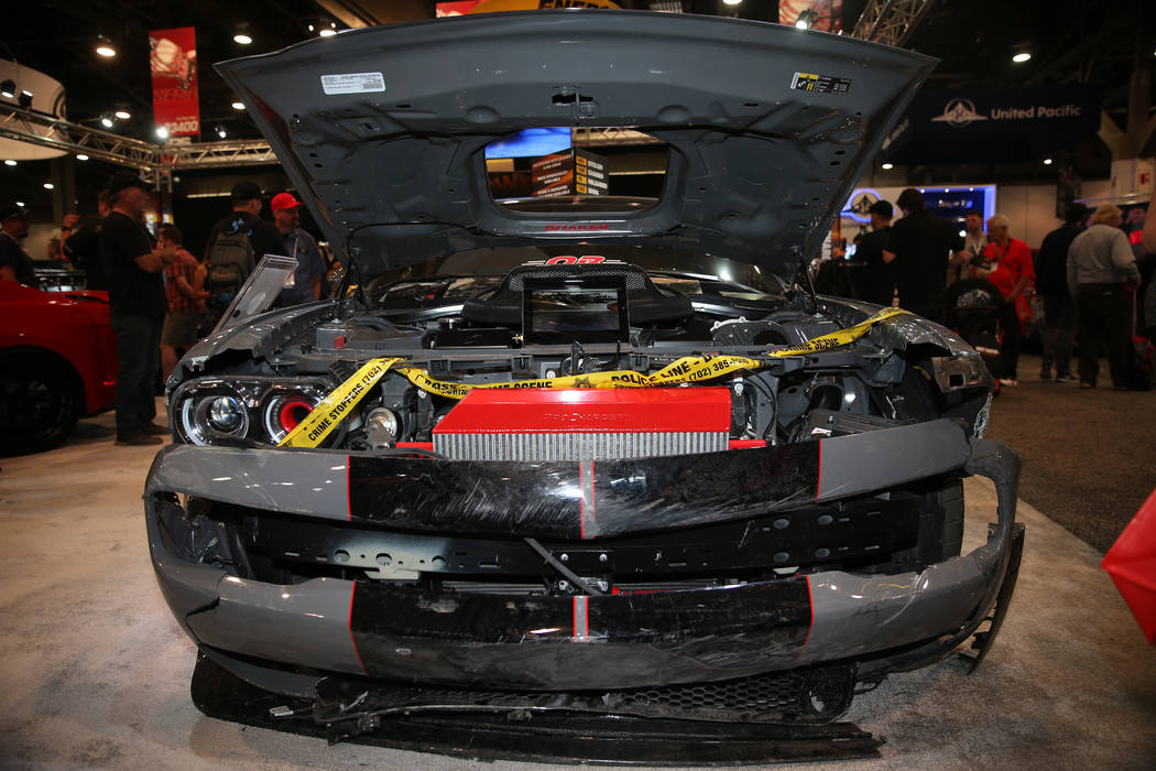 A custom 2019 Dodge Challenger that was stolen and used to ram into the patrol car is seen on d ...