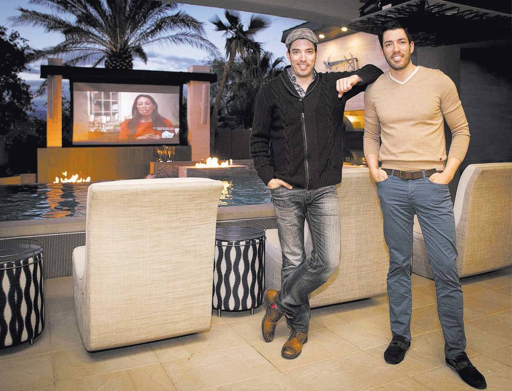 Jonathan and Drew Scott in their Las Vegas home. (Tonya Harvey/Real Estate Millions)