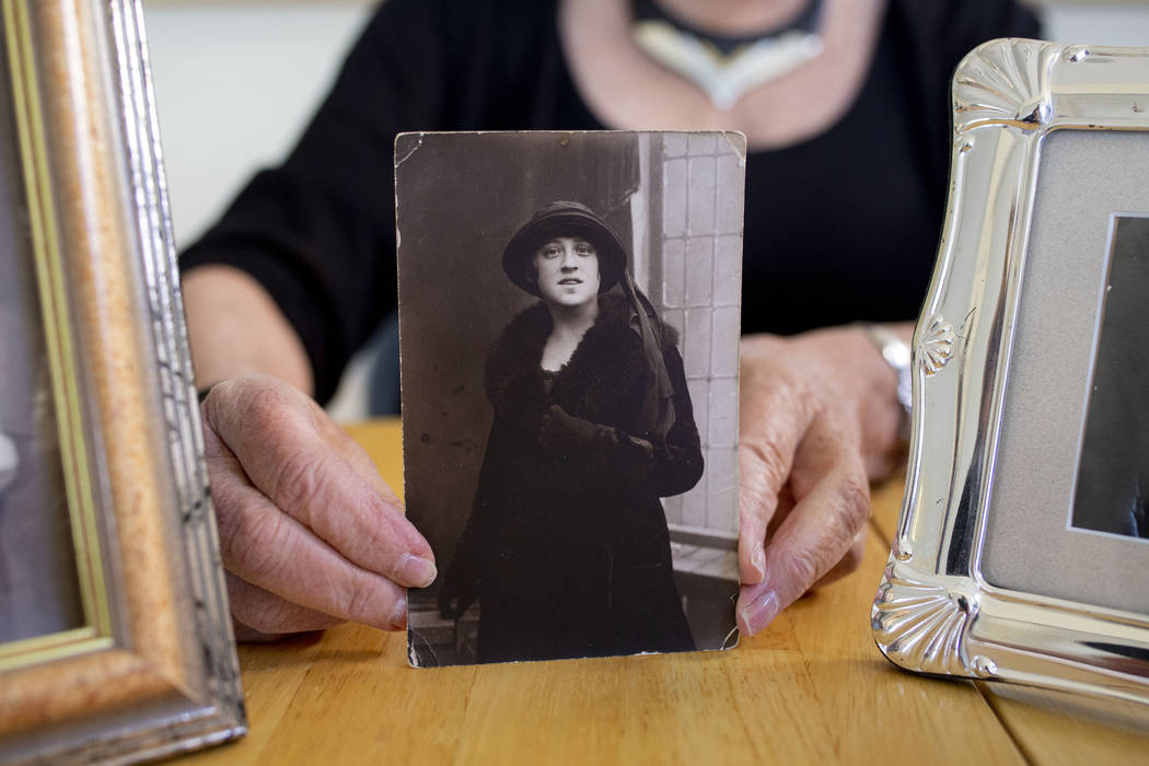 Author Joanne Gilbert holds a photo of her beloved great-aunt Rivka Wineman in Vilna Lithuania ...
