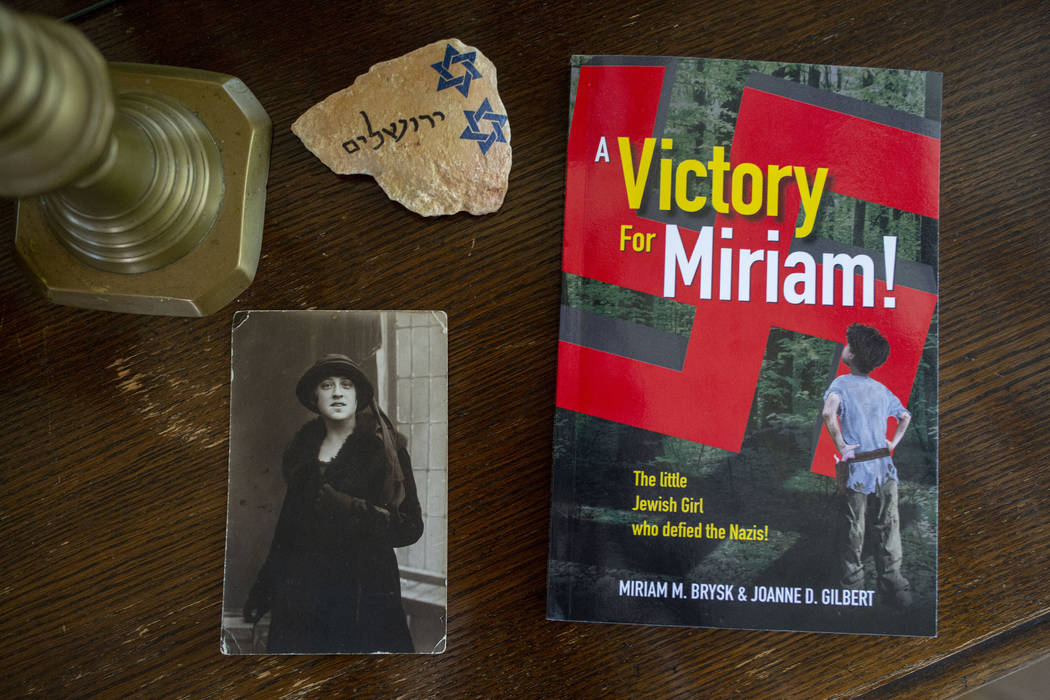 Author Joanne Gilbert's recent book, A Victory For Miriam, next to a photo of her beloved great ...