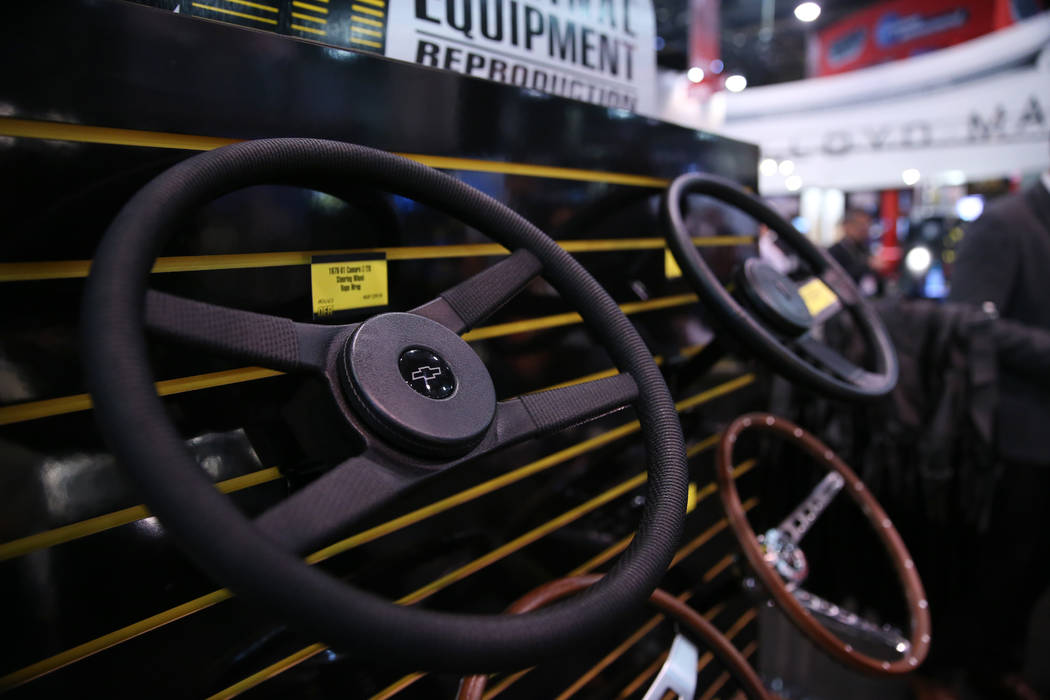 Chevrolet steering wheels on display at the Original Equipment Reproduction booth during the SE ...