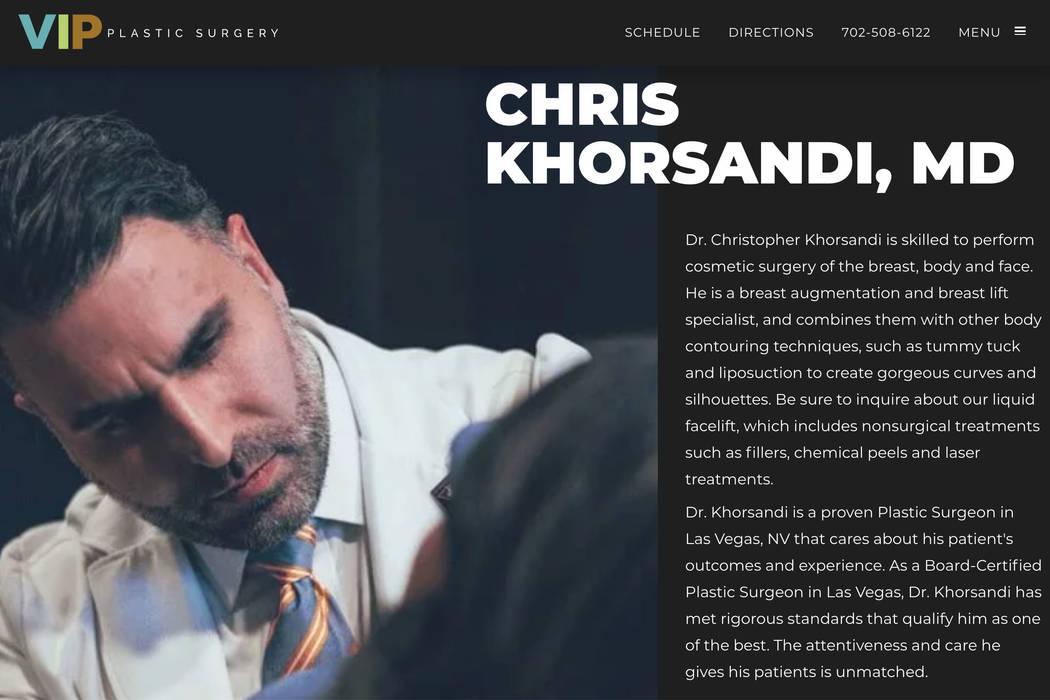 This screenshot of VIP Plastic Surgery website shows Dr. Christopher Khorsandi. Smith Plastic S ...