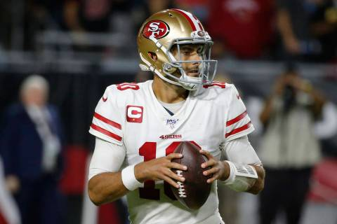 San Francisco 49ers quarterback Jimmy Garoppolo (10) during the first half of an NFL football g ...