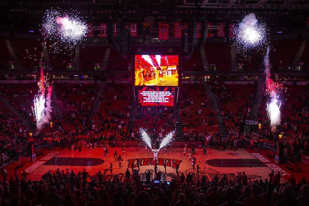 Hey Reb shoots off some pyrotechnics as the UNLV Rebels are set to take on Purdue Fort Wayne du ...
