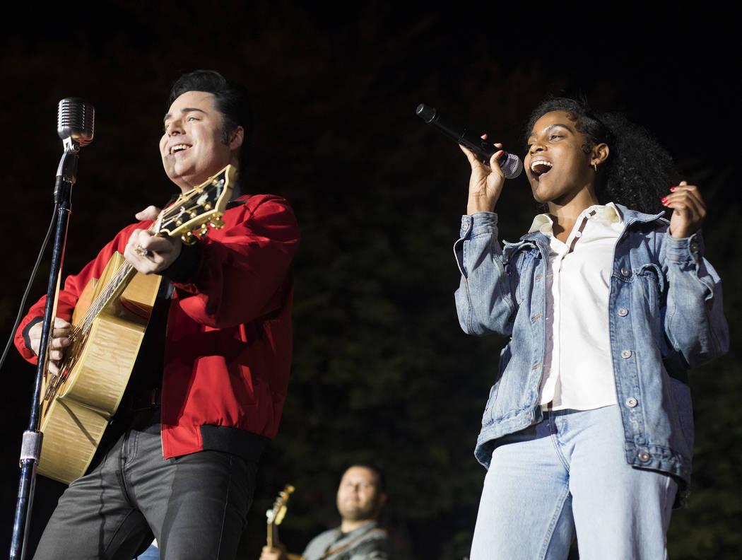 "Fana Hughes, right, sings alongside Cole from ""Elvis Presley's Heartbreak Hotel"" show at the 26 ..."