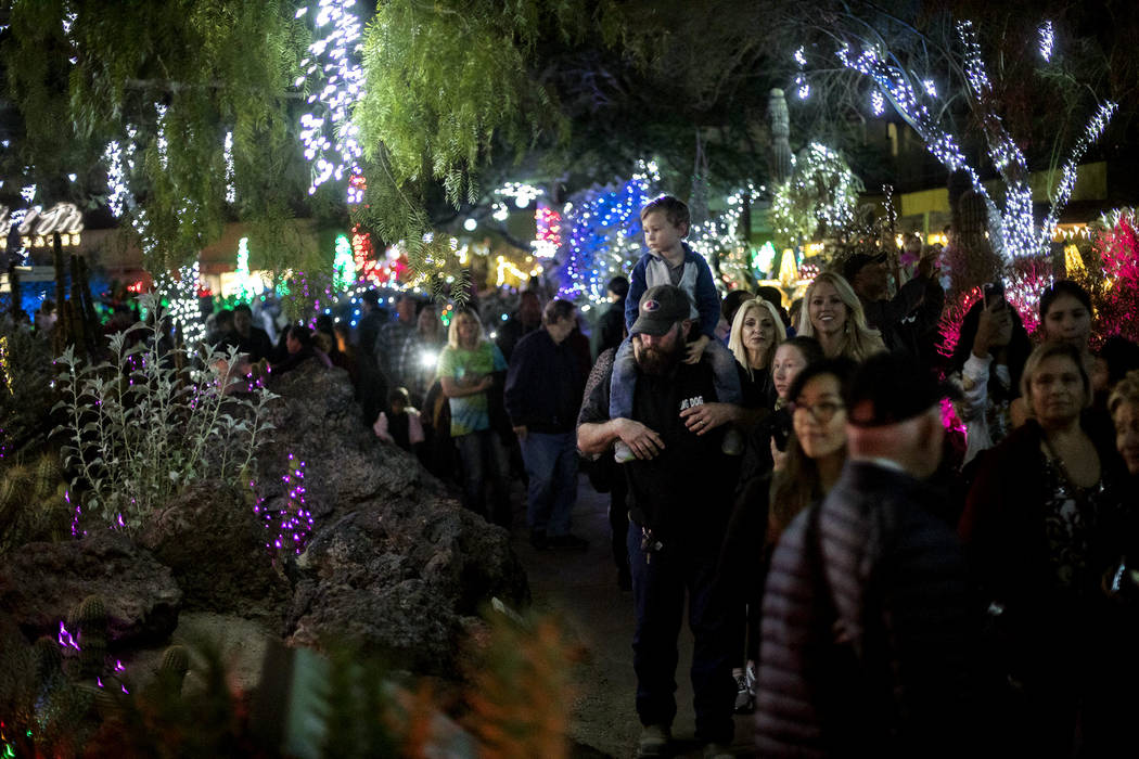 Guests walk through Ethel M Chocolates cactus garden in Henderson, Tuesday, Nov. 5, 2019. (Rach ...