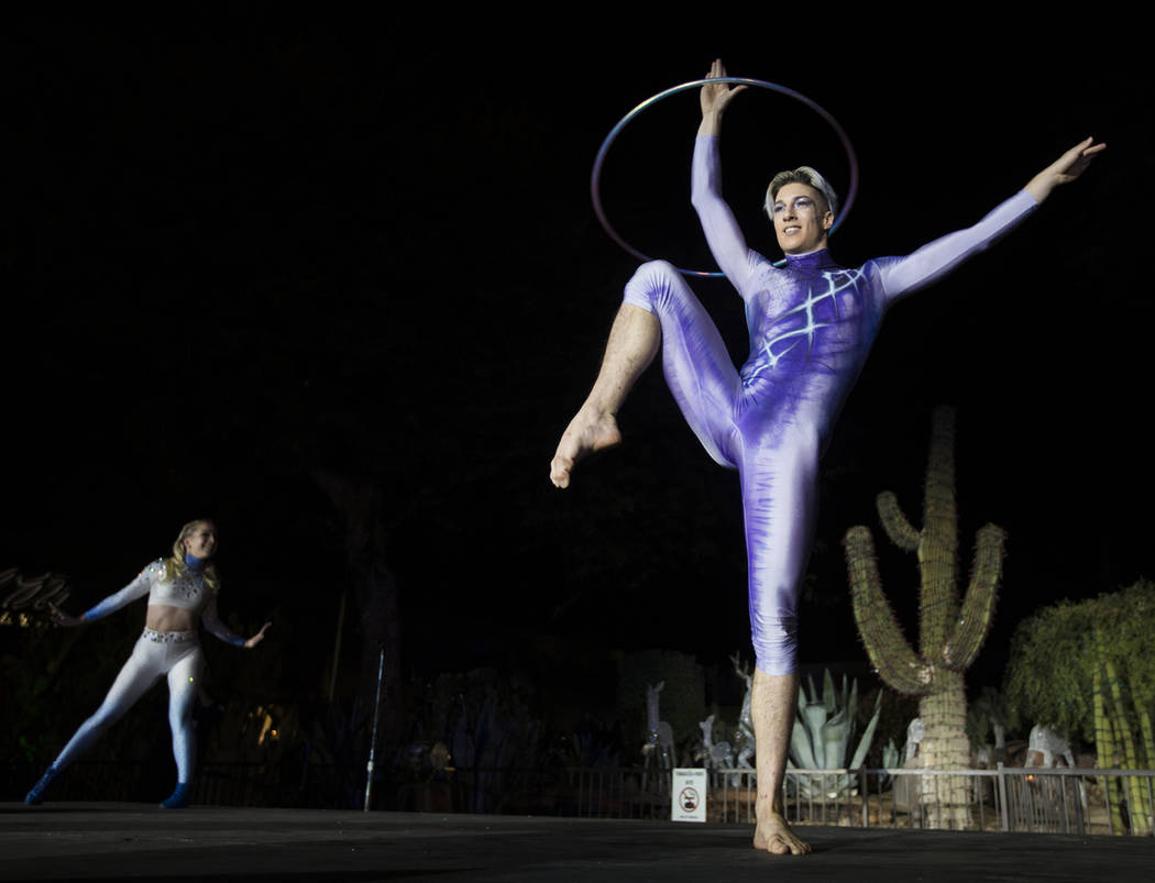 Performers from the Celesta show dance on stage at the 26th Annual Ethel M Chocolates Cactus Ga ...