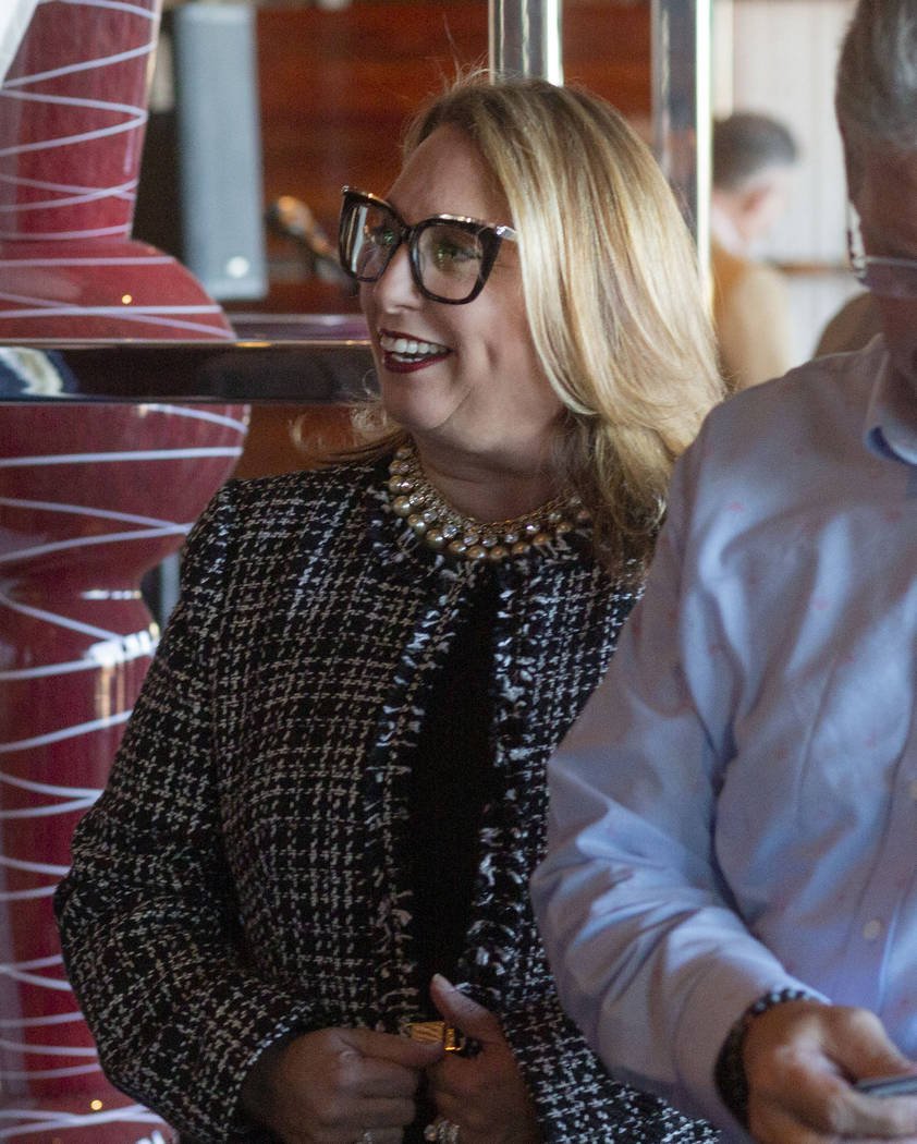 CEO of project developer Bleutech Park Properties Janet Garcia-Legrand mingles at the project o ...