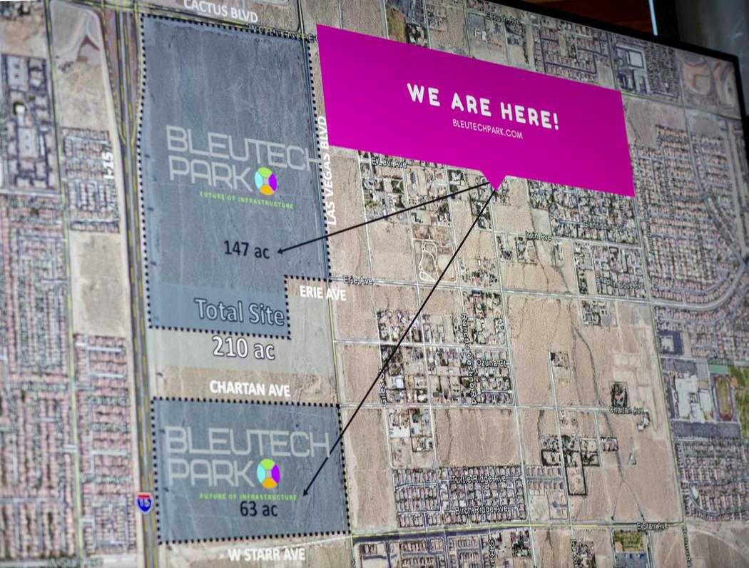 """A map projecting where the future Bleutech Park Las Vegas, the proposed $7.5 billion """"digi ..."""
