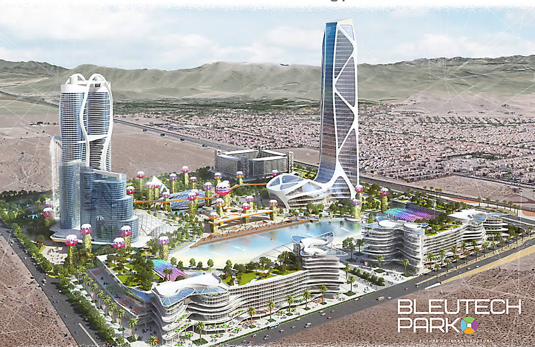 "A rendering of Bleutech Park Las Vegas, a proposed ""digital infrastructure city"" that would cos ..."