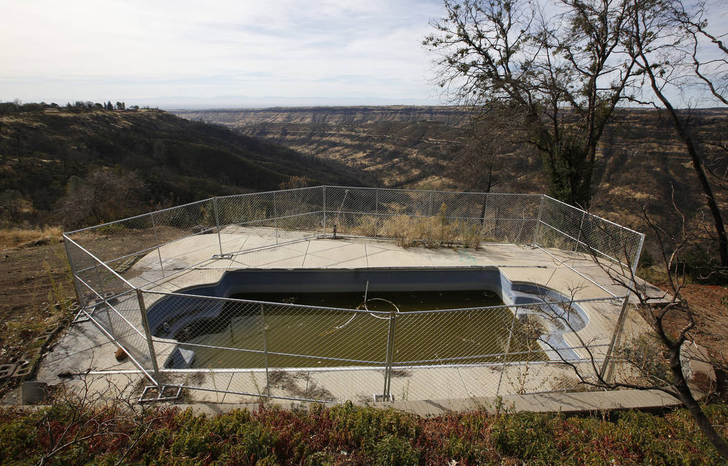 In this photo taken Thursday, Oct. 24, 2019, fencing surrounds a swimming pool at a home that w ...