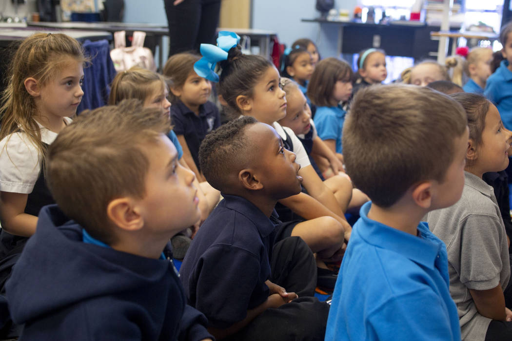 Kindergarten students in class at Pinecrest Academy, Nevada's newest campus in Henderson, Sloan ...