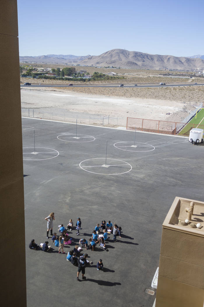 Second grade physical education class participate outside at Pinecrest Academy, Nevada's newest ...